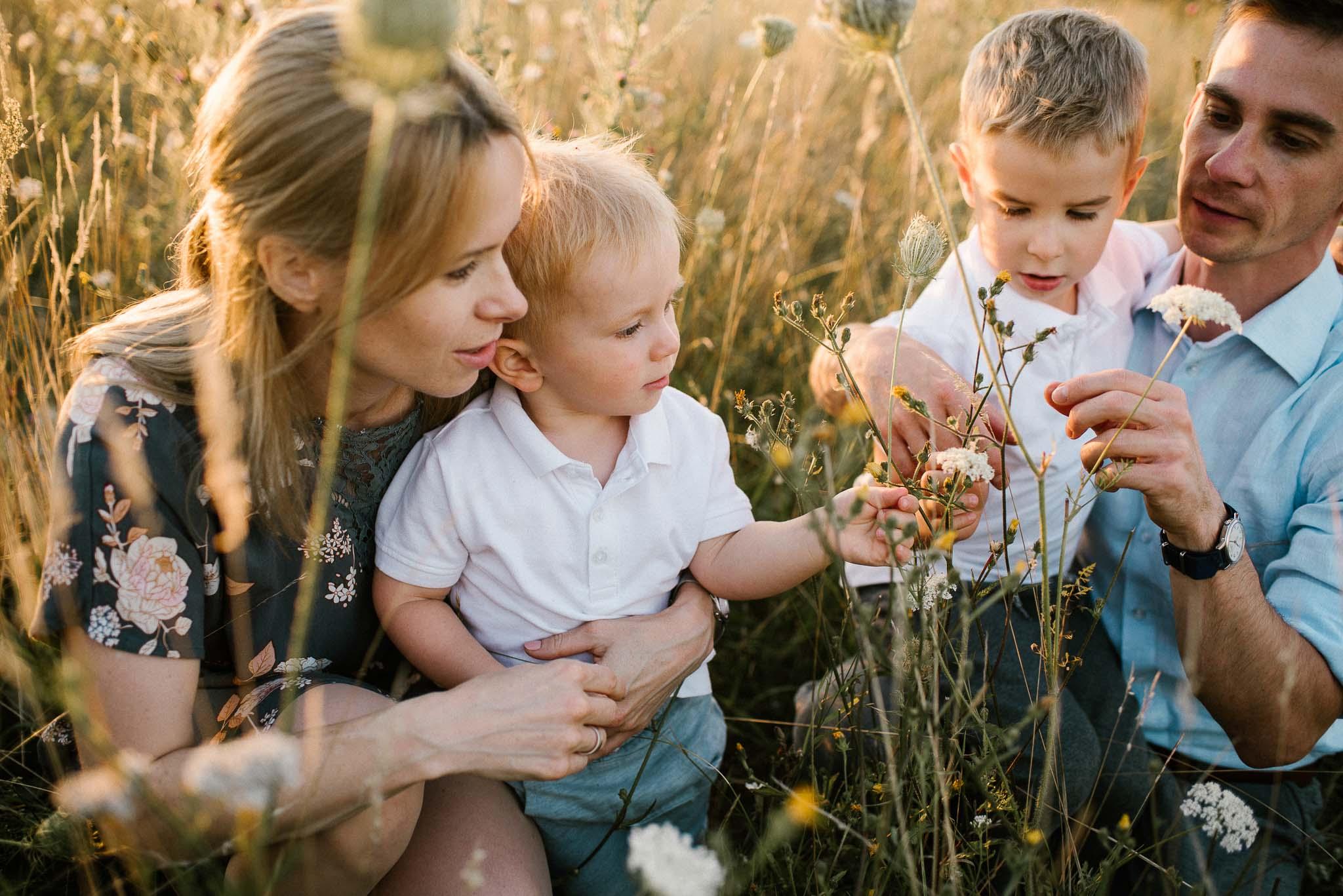 Rodzina na łące zrywa kwiaty - sesja rodzinna w plenerze na łące w Poznaniu