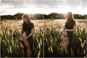 Kobieta z odsłoniętym brzuchem na łące -Sesja ciążowa na polu w plenerze Poznań
