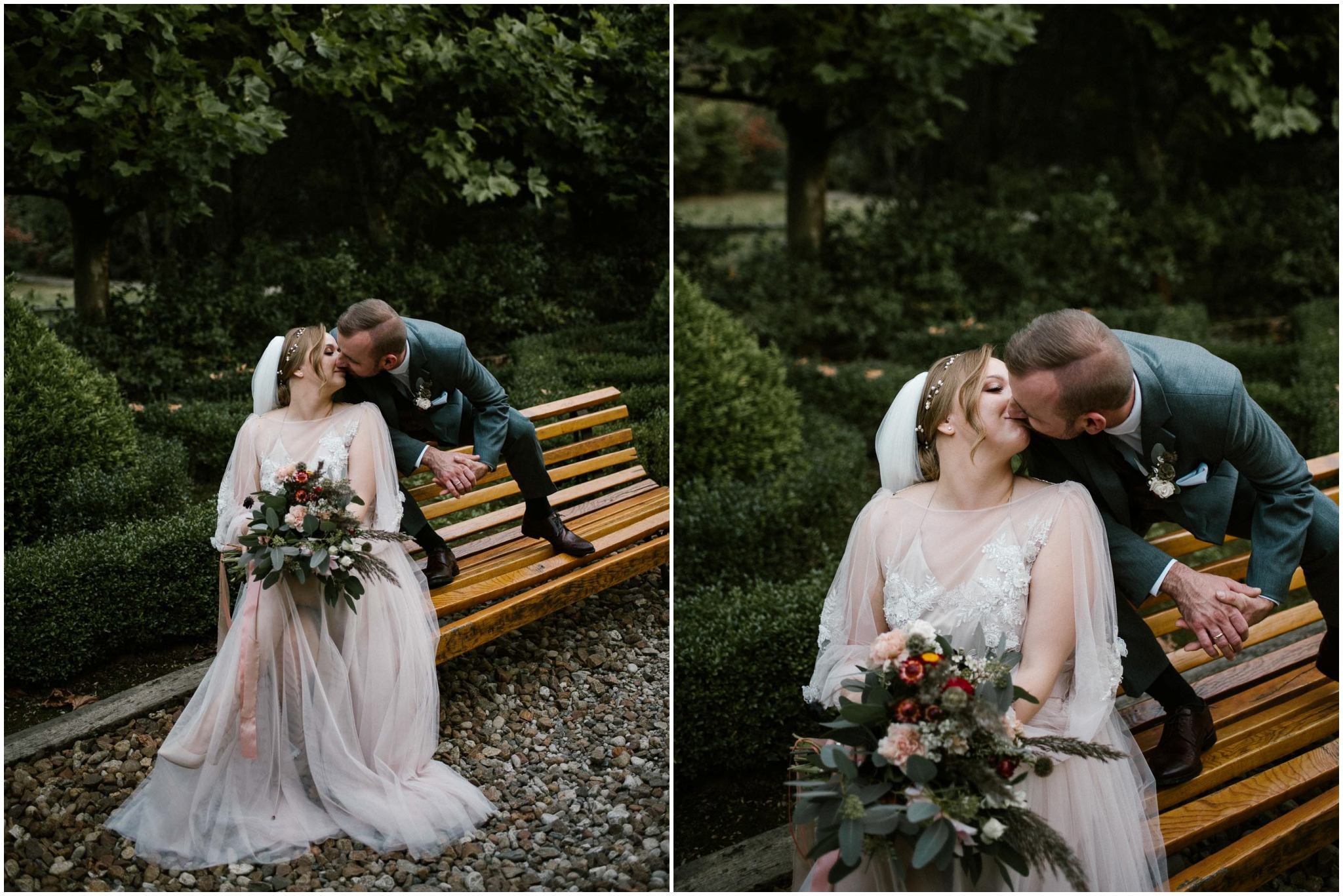 Para młoda całuje się na ławce w parku - - sesja ślubna w plenerze, Pani Woźna, Siedem Drzew, Biskupice