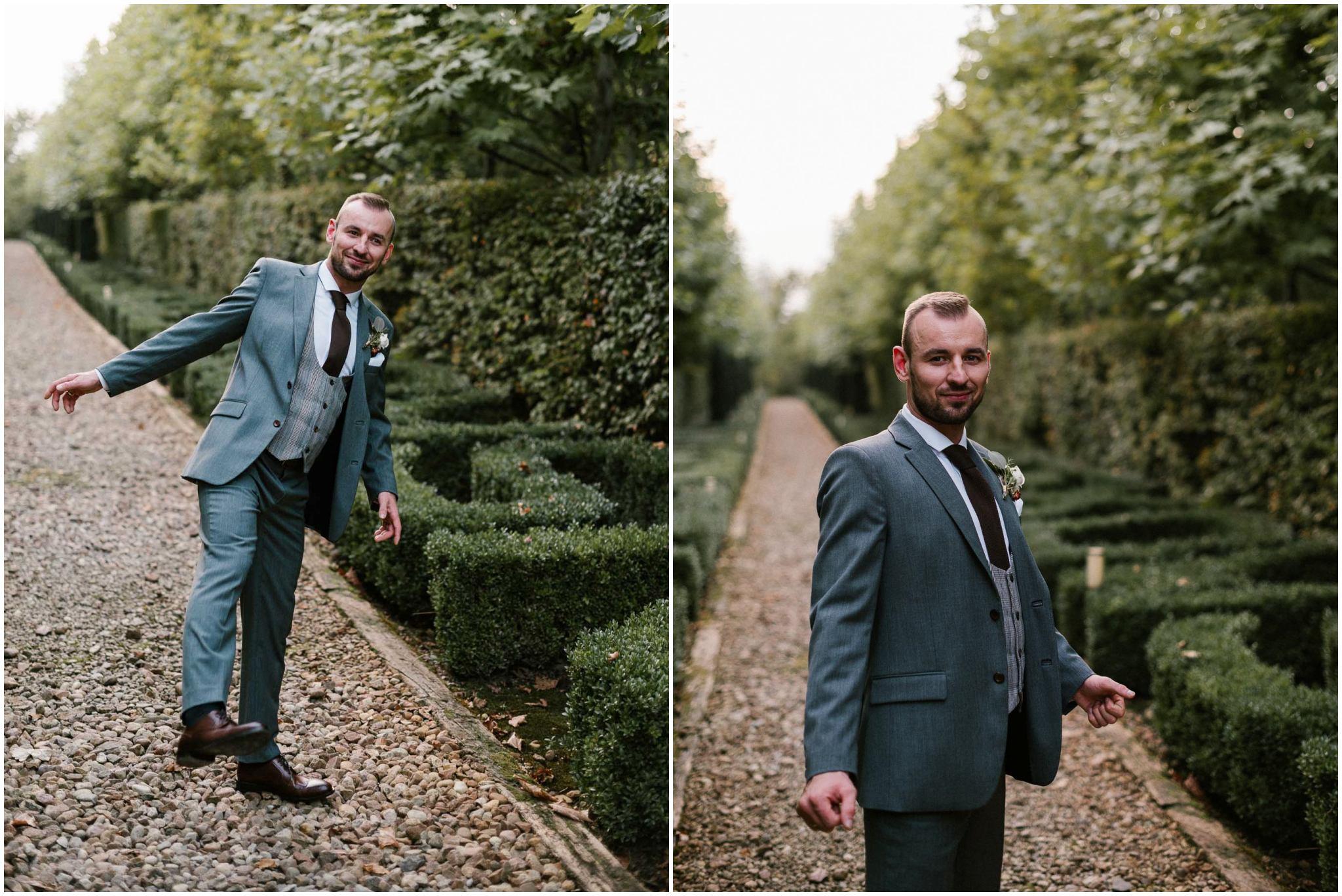 Pan młody w parku - sesja ślubna w plenerze Biskupice, Siedem Drzew