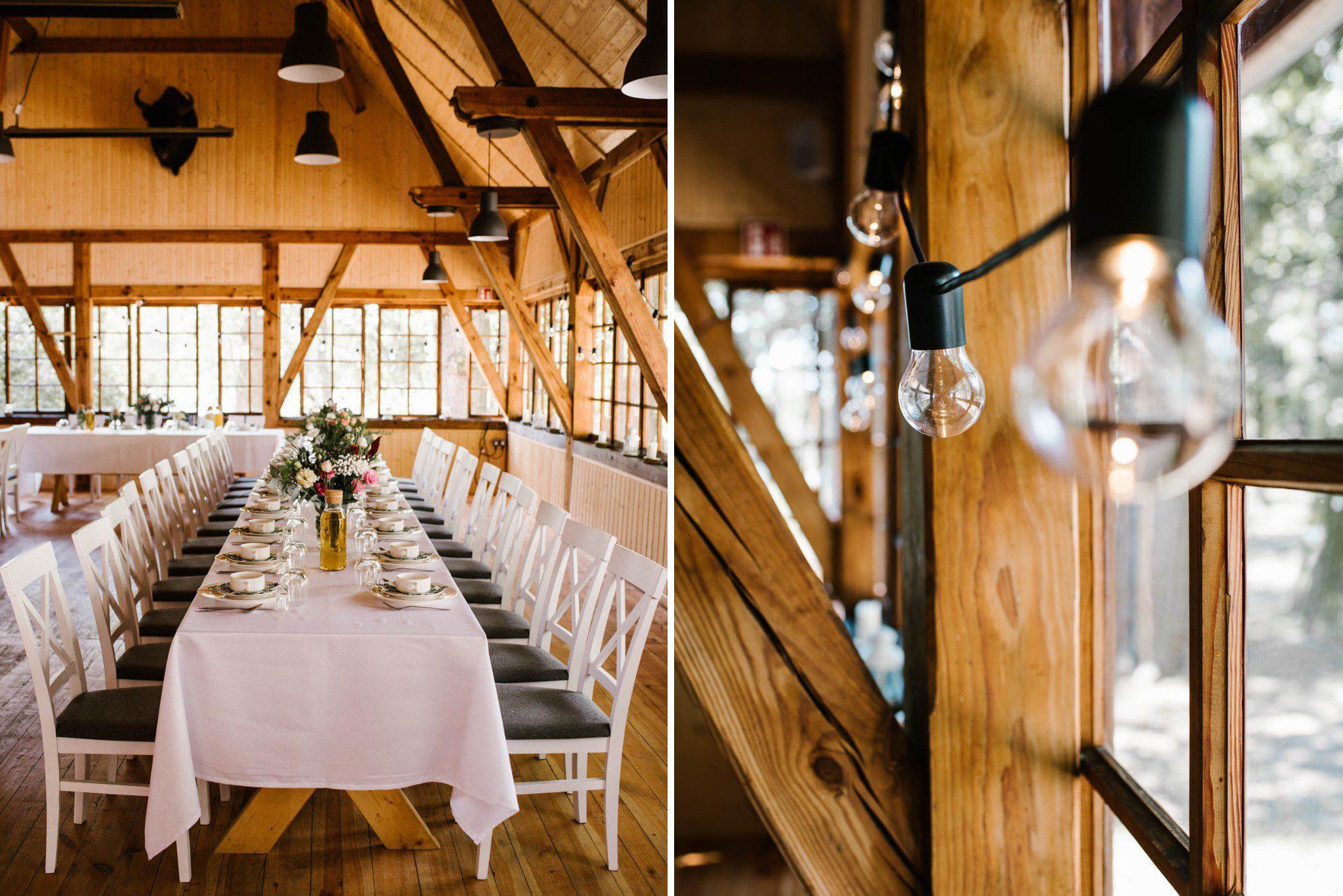 Udekorowany stół w stylu rustykalnym - sesja ślubna na Wyspie Św. Edwarda Zaniemyśl