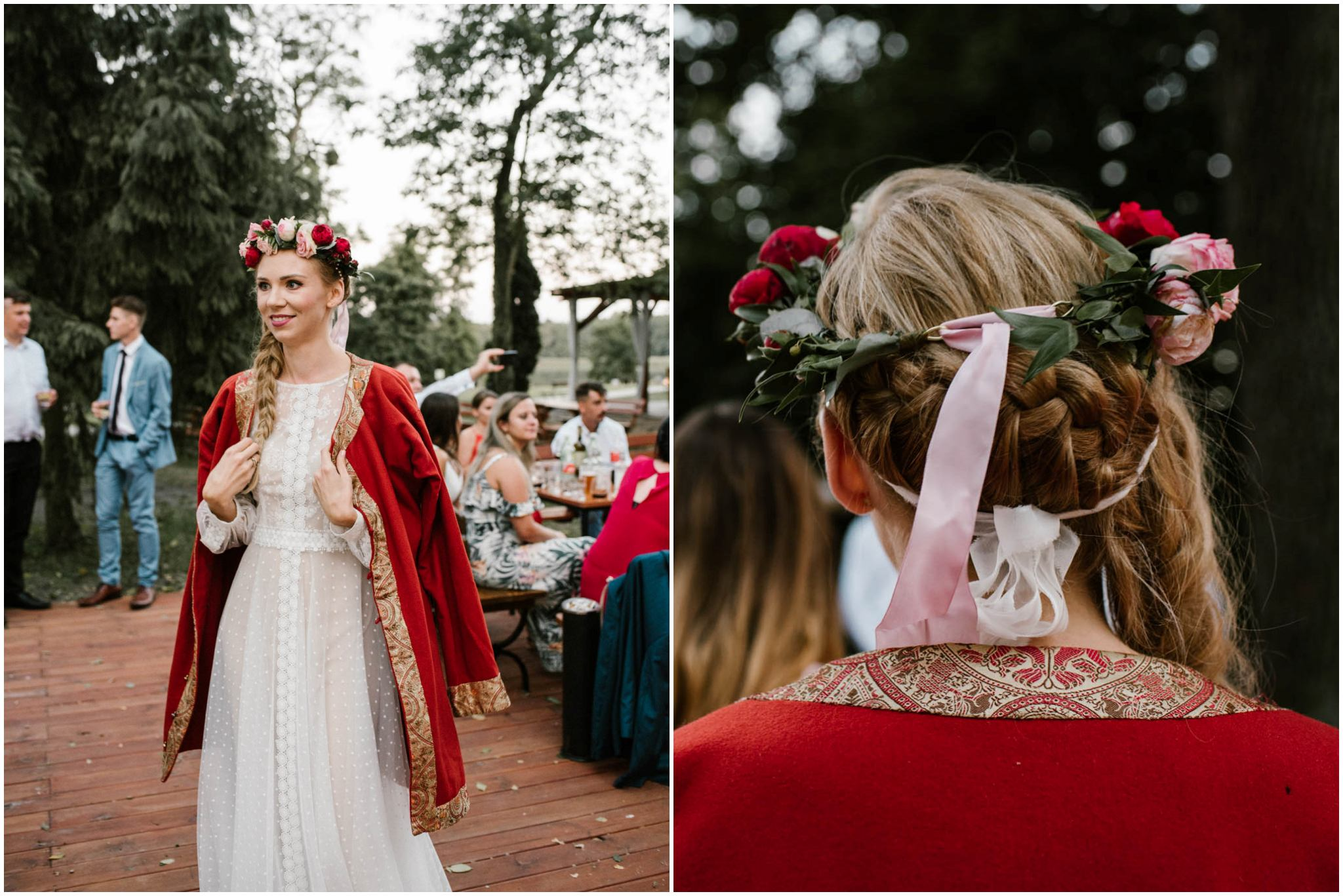 Wianuszek na głowie panny młodej - sesja ślubna na Wyspie Św. Edwarda Zaniemyśl