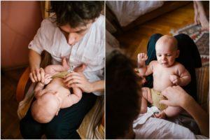 Tata z synkiem na fotelu - Sesja niemowlęca lifestyle w domu Poznań