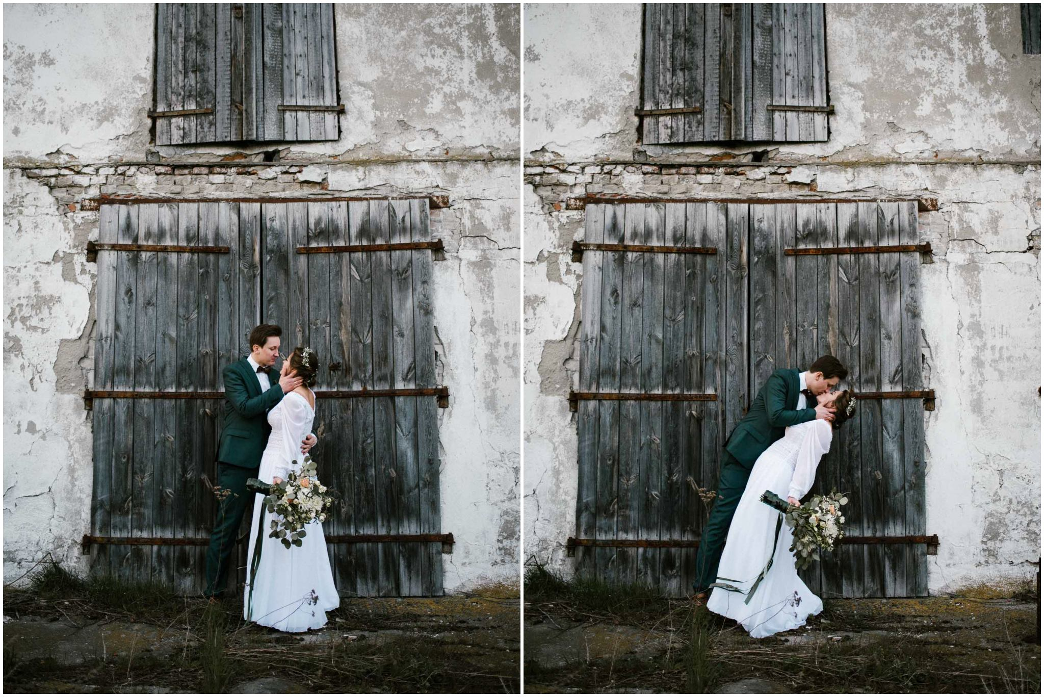 Ślubna sesja plenerowa przed starymi drzwiami - sesja ślubna reportaż Żuczki Inowrocław