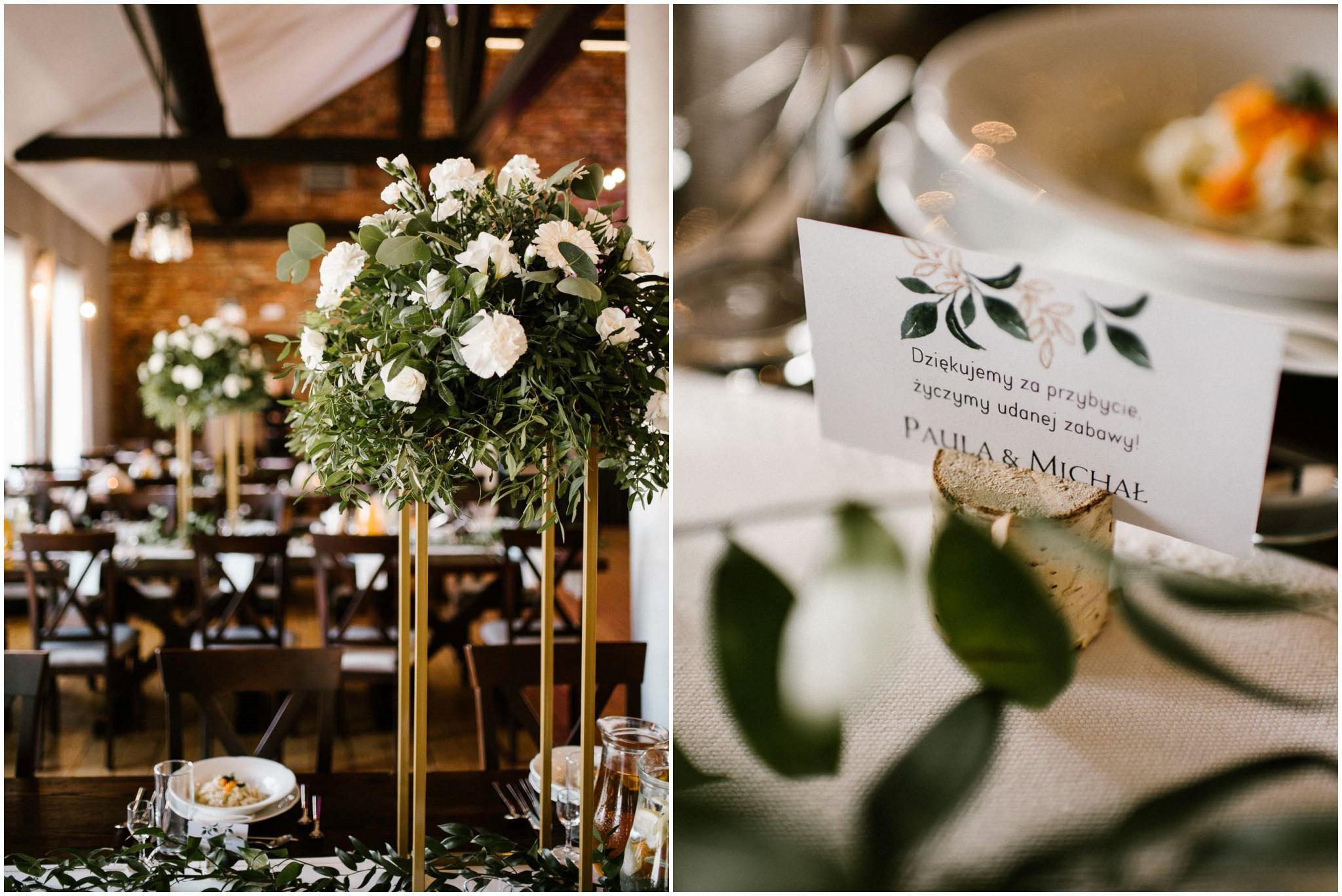 Dekoracje weselne na stołach -  ślub w Stodole Bojanowo