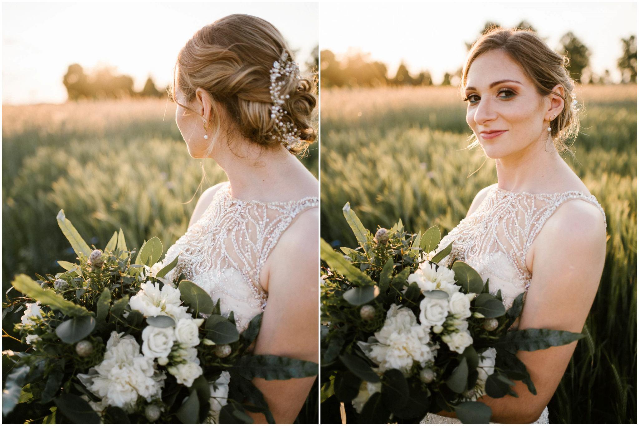 Panna młoda na polu - sesja ślubna w plenerze Stodoła Bojanowo