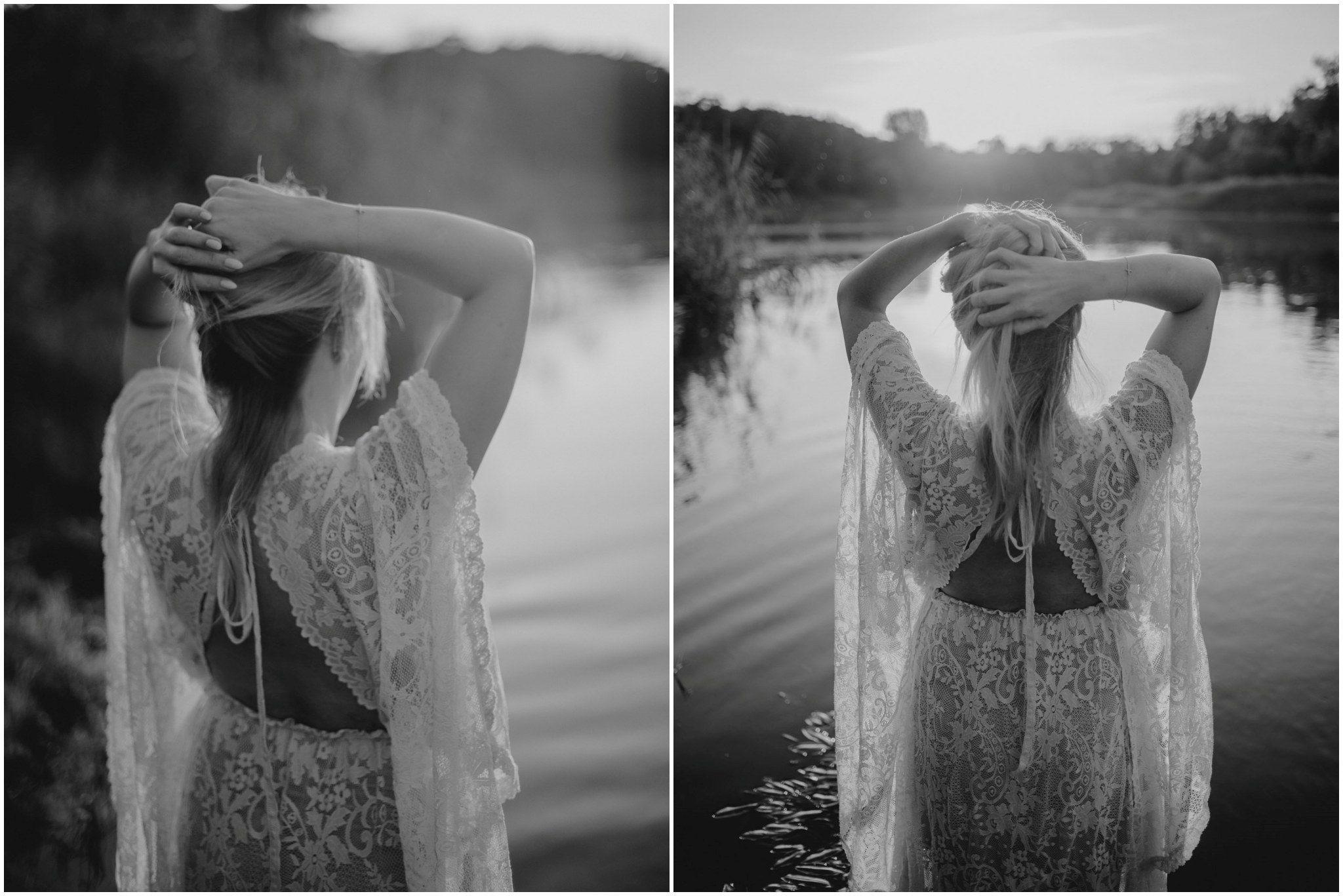 Odkryte plecy koronkowej sukni w stylu boho - Sesja ciążowa w plenerze w wodzie Poznań
